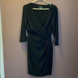 Lauren Ralph Lauren Black wrap midi dress